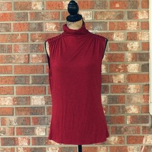 Max Studio Ruched Sleeveless Red Shirt Size Large